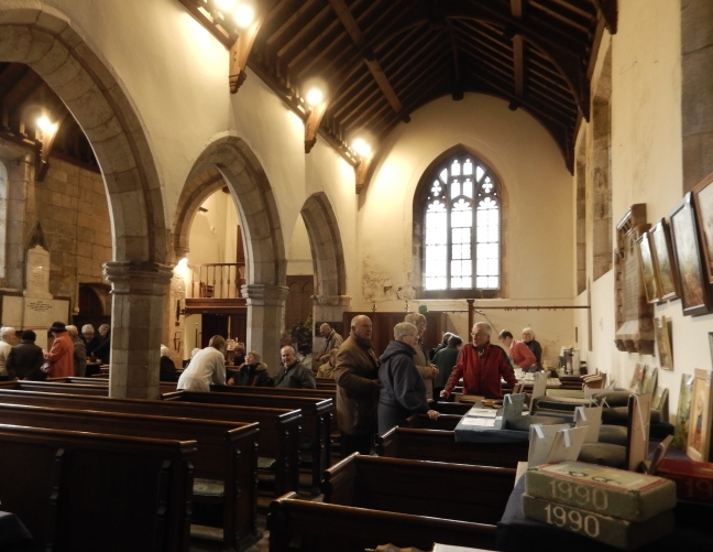 Interior of All Saints' showing local artist Gerry Fruin and visitors on the weekend of 13/14 February 2016