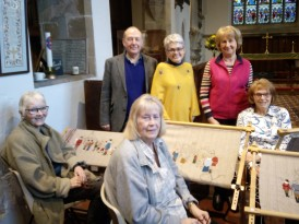 Rick Brand, Cllr Helen Richards, Jenny King and the Pilgrim Embroiders at Babworth Church